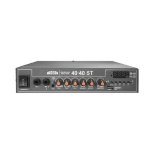 Excelente opción para el voceo móvil o fijo ya que el modelo40-40 STcuenta con dos salidas de 40 watts cada una